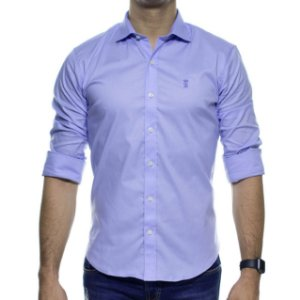 Camisa Social Sergio K Stretch Azul Basica Slim Fit