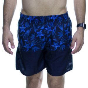 Short King e Joe Preto Floral Azul