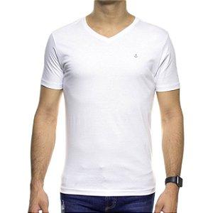 Camiseta Malha King e Joe Branca Basica Gola V