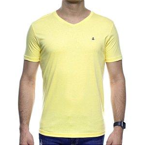 Camiseta Malha King e Joe Amarela Basica Gola V