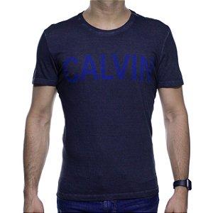 Camiseta Malha Calvin Klein Preta Destonada Com Estampa Marinho