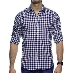 Camisa Social Sergio K Linho Xadrez Marinho Regular Fit