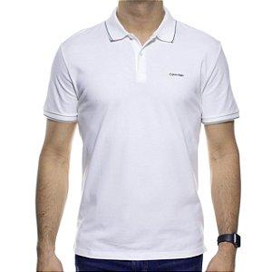 Camisa Polo Calvin Klein Branca Com Detalhe Preto Na Gola