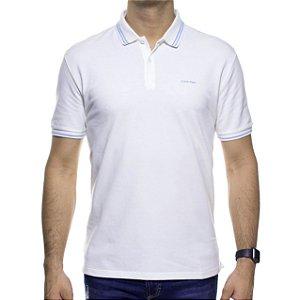 Camisa Polo Calvin Klein Branca Com Detalhe Azul Na Gola