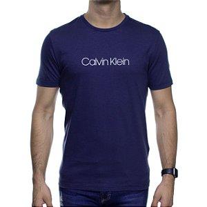 Camiseta Malha Calvin Klein Marinho Estampa Branca