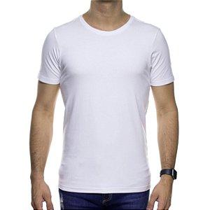 Camiseta de Malha Urbô Basica Branca Algodão Com Elastano