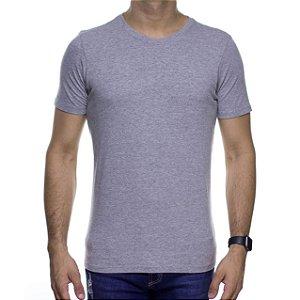 Camiseta de Malha Urbô Basica Cinza Algodão Com Elastano
