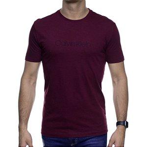 Camiseta Malha Calvin Klein Bordo Estampa Preta