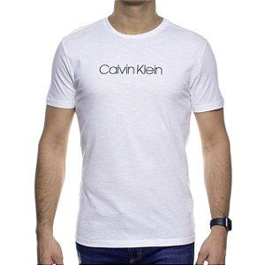 Camiseta Malha Calvin Klein Branca Estampa Preta