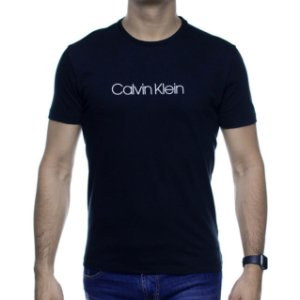 Camiseta Malha Calvin Klein Preta Estampa Branca