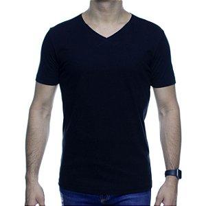 Camiseta Malha King e Joe Preta Basica Gola V