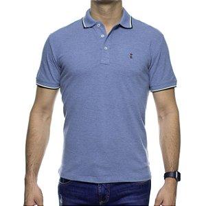 Camisa Polo Sergio K Azul Clara Com Detalhe Marrom Na Gola