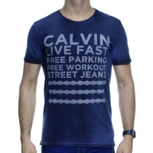 Camiseta Malha Calvin Klein Marinho Distonado Live Fast