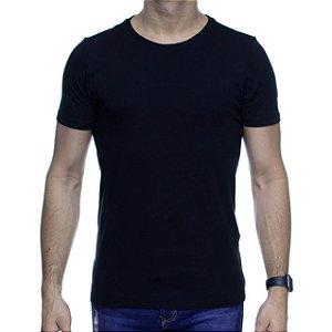 Camiseta de Malha Urbô Basica Preta Algodão Com Elastano