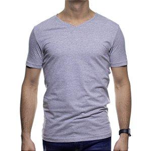 Camiseta Malha King e Joe Cinza Basica Gola V
