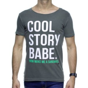 Camiseta Malha Purple Yellow Cool Story Verde Destonado