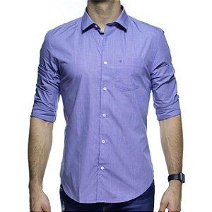 Camisa Social Calvin Klein Micro Xadrez Marinho Com Bolso