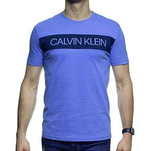 Camiseta Malha Calvin Klein Azul Estampa Marinho