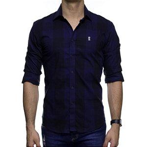 Camisa Social Sergio K Xadrez Preto E Marinho