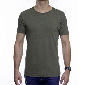 Camiseta de Malha Urbô Basica Verde Algodão Com Elastano