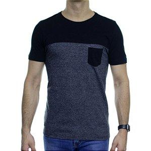 Camiseta de Malha Urbô Basic Duo Preta e Chumbo