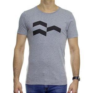 Camiseta de Malha Urbô Símbolo Gráfico Cinza