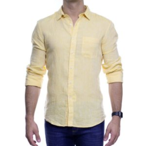 Camisa Social Richards Puro Linho Lisa Com Bolso Amarela