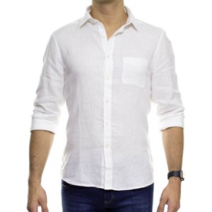 Camisa Social Richards Puro Linho Lisa Com Bolso Branca