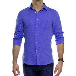 Camisa Social Richards Puro Linho Lisa Com Bolso Azul