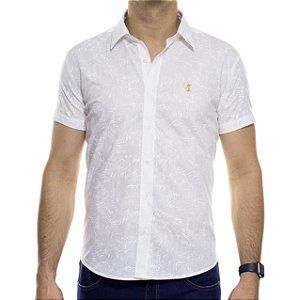 Camisa Social Sergio K Manga Curta Estampada Folhagem Branca