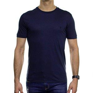 Camiseta de Malha VR Azul Noturno Básica em Algodão Pima