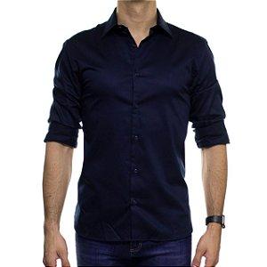 Camisa Social VR Azul Noturno Acetinado Lisa Slim Fit