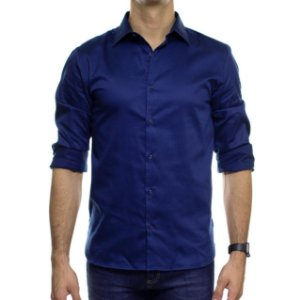 Camisa Social VR Azul Acetinado Lisa Slim Fit