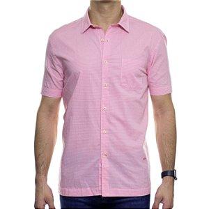 Camisa Social Richards Manga Curta Com Bolso Xadrez Rosa
