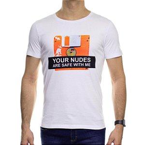 Camiseta Malha Sergio K Your Nudes Diskette Branca