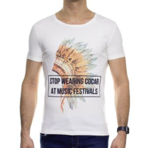 Camiseta Malha Sergio K Cocar Music Off White