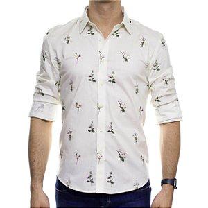 Camisa Social Sergio K Buquê Off White