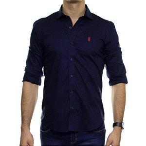 Camisa Social Sergio K Stretch Gorgurão Marinho