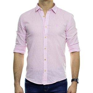Camisa Social Ankor Linho Rosa Slim Fit