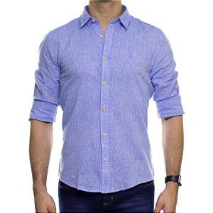 Camisa Social Ankor Linho Azul Slim Fit