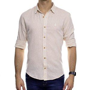 Camisa Social Ankor Linho Bege Slim Fit