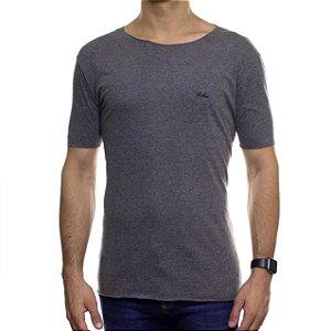 Camiseta de Malha Ankor Cinza Basica Gola Careca