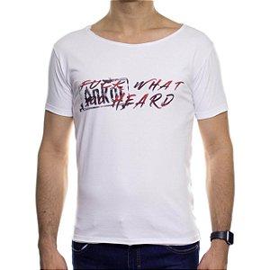 Camiseta de Malha Ankor Fuck What Branca Gola Careca