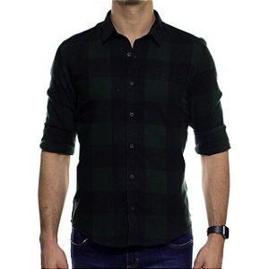 Camisa Social Ankor Xadrez Flanelado Verde Escuro Slim Fit