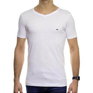 Camiseta de Malha Urbô Branca Básica Gola V