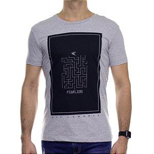 Camiseta de Malha Saultin Labirinto Cinza Gola Careca