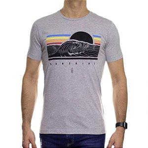 Camiseta de Malha Serafine Sunshine Cinza Gola Careca