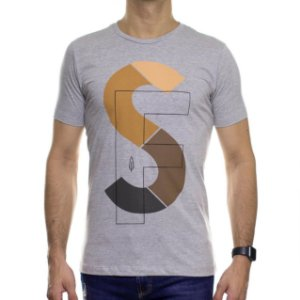 Camiseta de Malha Serafine Shapes Cinza Gola Careca