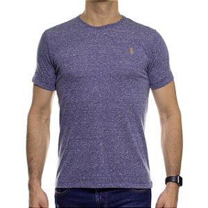 Camiseta de Malha Serafine Pierce Mescla Azul Gola Careca