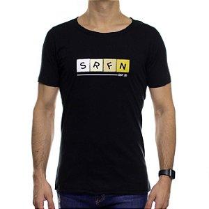 Camiseta de Malha Serafine Four Color Preta Gola Estourada